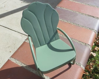 "Doll Size Metal Crossley Griffith Style Lawn Chair 8"" x 5"" x 3 1/2"""