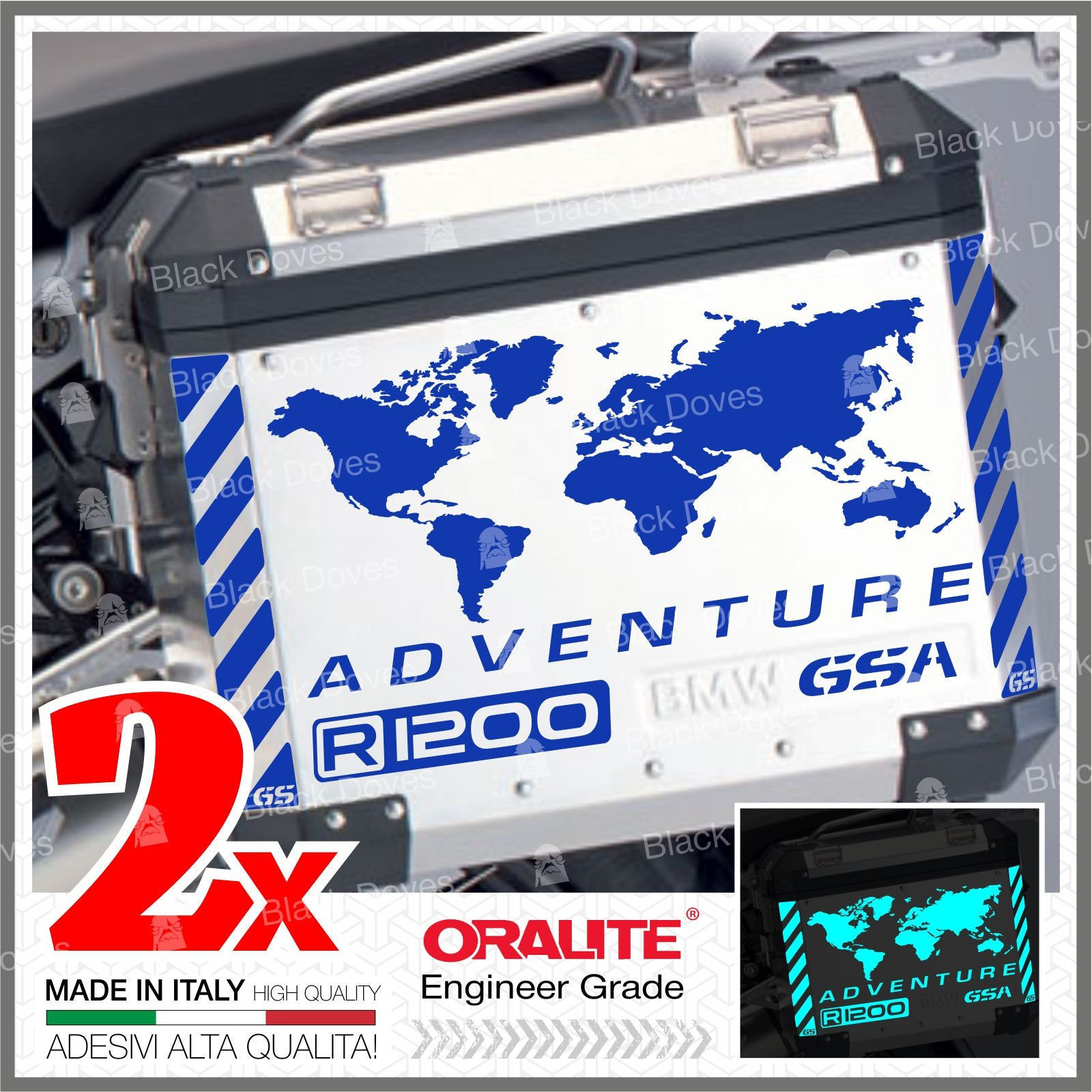 10x R1200GS Reflective BMW ADVENTURE stickers Adhesives Pegatina  autocollant Touratech
