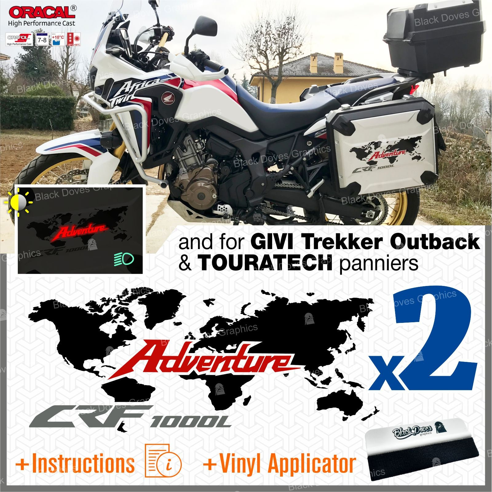 The Pixel Hut gs000037b Adventure Motorcycle Decal Kit World Adventure Map for Touratech Panniers Grey