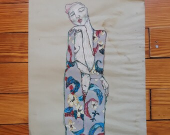 Beautiful Vintage Klimt-inspired Art Nouveau-style Drawing /Study / Woman in Floral Dress