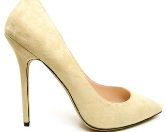 Edza Audrey Lemon Suede Leather High Heel Pumps, stiletto heels,  handmade shoes 39 40 41 42 43  8 9 10 11