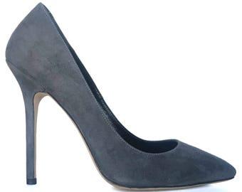 Edza Audrey Gray Suede Leather High Heel Pumps stiletto heels,  39 40 41 42 43  8 9 10 11