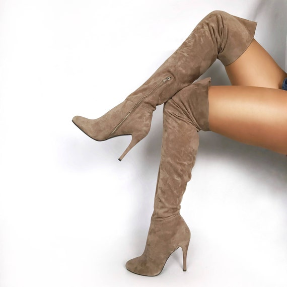 24fc54403c0 Edza Paris Beige Suede Leather High Heel over the knee boots