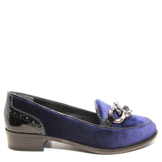 and Meg patent rhinestone with Loafers leather Edza details Velvet Navy 7wqPxBa