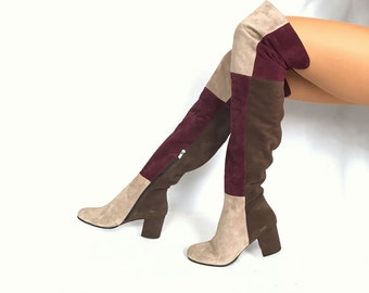 Edza LIV Suede Leather Patchwork  over the knee boots, thigh high boots, 39 40 41 42 8 9 10 11