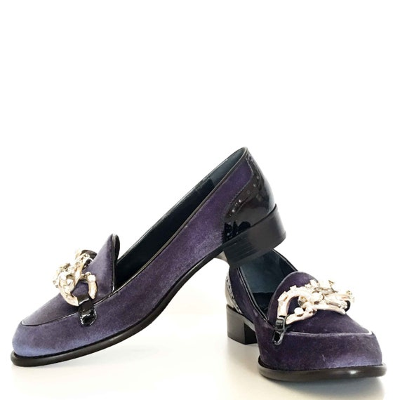 velours Edza bleu Meg d mocassins verni avec en et cuir xxvwPtO