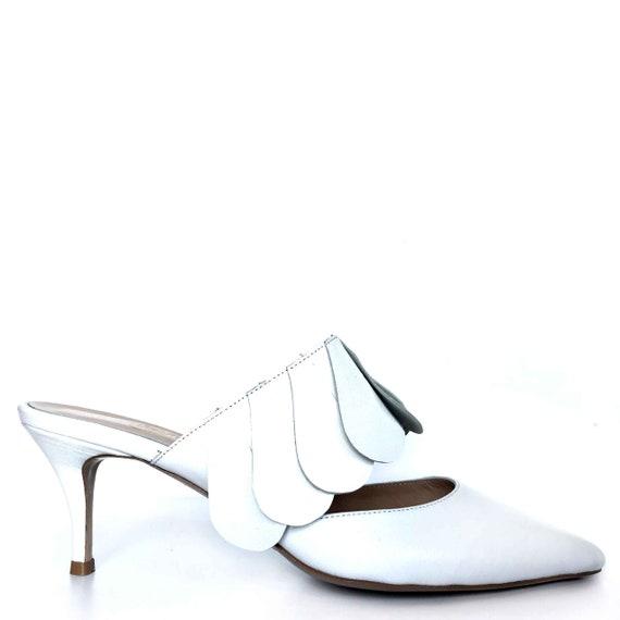 EDZA Elizabeth White Leather Kitten Heel Mule 39 40 41 42 43  8 9 10 11
