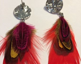Fantastic earrings with feathers handmade and current peacock colors