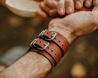 chestnut-smith leather force bracelet