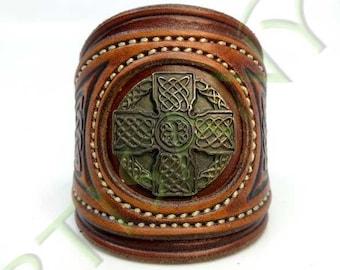 Khal Drogo_ Celtic Cross leather bracelet