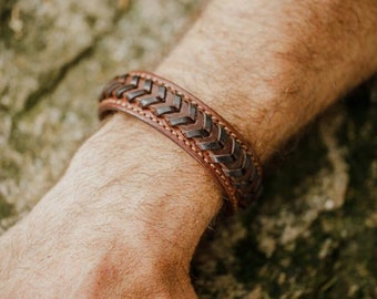brown ethnic leather bracelet on light brown base with black V lacing and shimmering sewing- available in 2 sizes