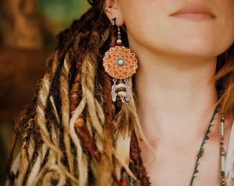 Valkyrie Free Spirit leather earring-sold at the unité_ Silver Earrings 925