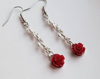 Red rose and vine earrings