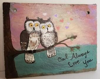 Whimsical owl Valentine painting - handpainted slate