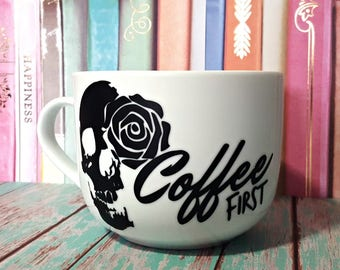 Coffee First Skull Mug