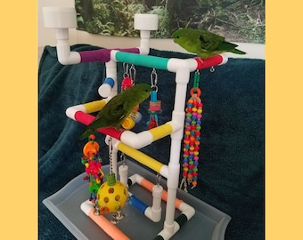 THE MINI-INDULGER Tabletop-Version: Fun Play Gym and Play Stand for Parrotlets, Green Cheek Conures, Parakeets, Lovebirds and Small Birds
