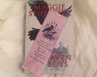 """The Raven Cycle """"Her Raven Boys"""" handpainted bookmark"""
