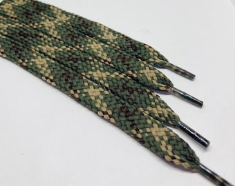 Pink and Olive Green 45 Inch Camo Sneaker Shoe Lace Strings Camouflage Flat Shoelaces