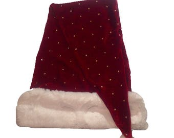 Extra Long Christmas Hat, Santa Hat, Faux fur-Moroccan cuff, gold polka dot hat