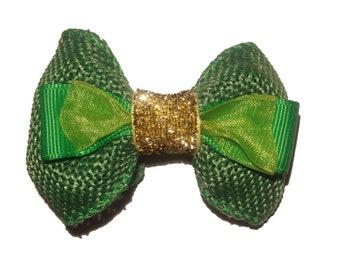 Green and gold hair bow, st patricks day hair bow, hair clip