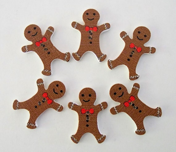 """10 Gingerbread Man Buttons 30mm Christmas Gingerbread Sewing Buttons 1 1//8/"""""""