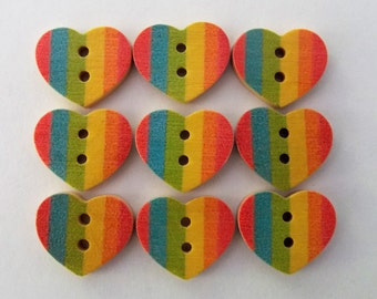 Rainbow Heart Buttons, Striped Buttons, Rainbow Buttons, Pride Buttons, Sewing Supplies, Scrapbooking, Embellishments, Wooden Buttons