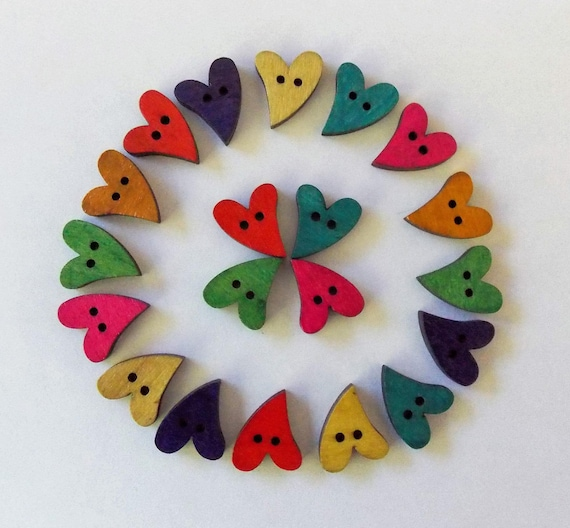 Heart Shaped Buttons, Wooden Buttons, Sewing Supplies, Scrapbooking,  Embellishments, Coloured Heart Buttons, Bright Heart Shaped Buttons