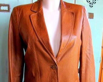 Gucci Leather Blazer Jacket Vintage 1980's
