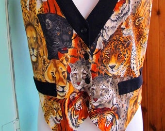 Awesome Vintage Cotton Big Cat Printed Vest by Castle Rock Sportswear 1980's Fab Size Large