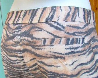63cc0fe3f2c194 Vintage 1990s Tiger Print Pants Karen Kane Size 8 Animal Print Rock Classic