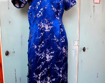 Vintage Shiny Deep Blue and Silver Floral Pattern Maxi Dress with Mandarin Collar