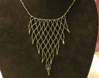 Hand sewn seed bead netting necklace
