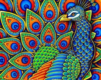 Colorful Paisley Peacock Rainbow Bird Giclée Fine Art Print