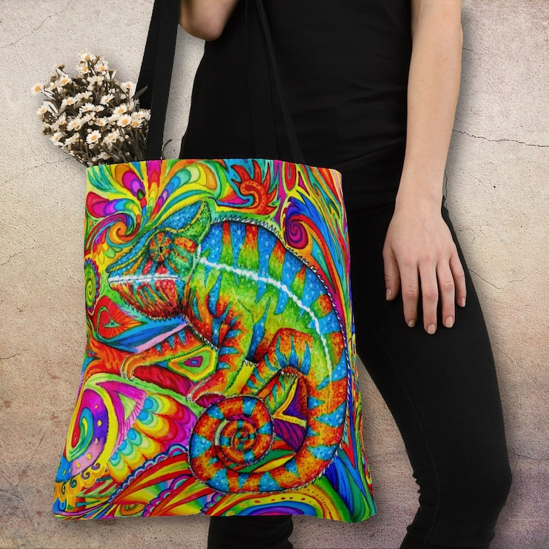 Psychedelic Chameleon Rainbow Lizard Colorful Tote Bag