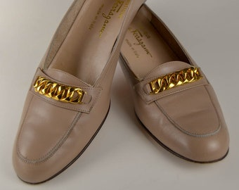 Vintage Taupe Salvatore Ferragamo Loafers, Fits a 9 N or an 8.5.