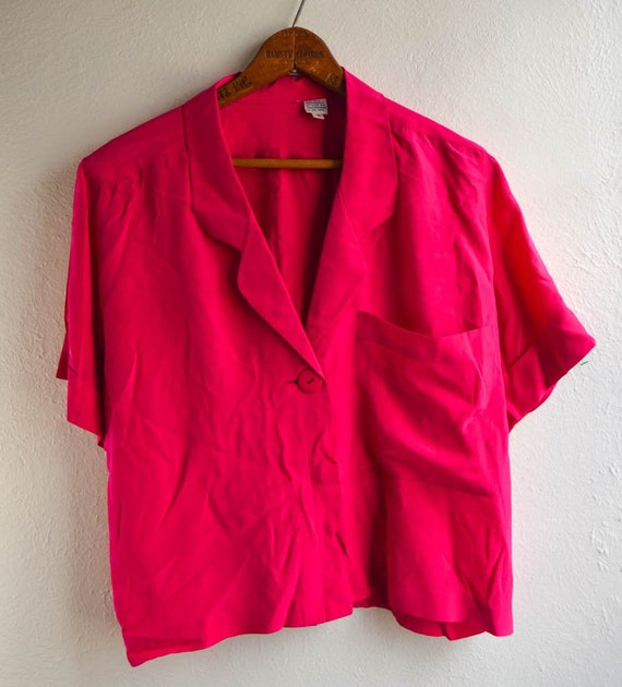 Hot Pink Silk Short Sleeved Blouse, Size Small