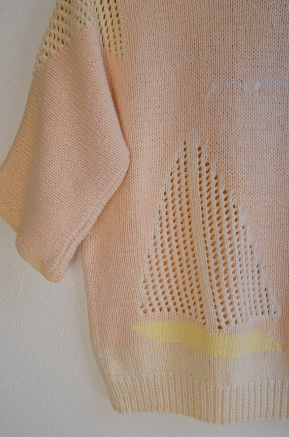 Hand Knit Scenic Boat Sweater, Size Small - image 2