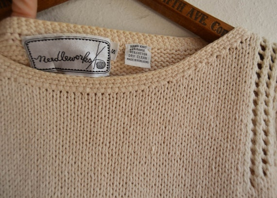 Hand Knit Scenic Boat Sweater, Size Small - image 4