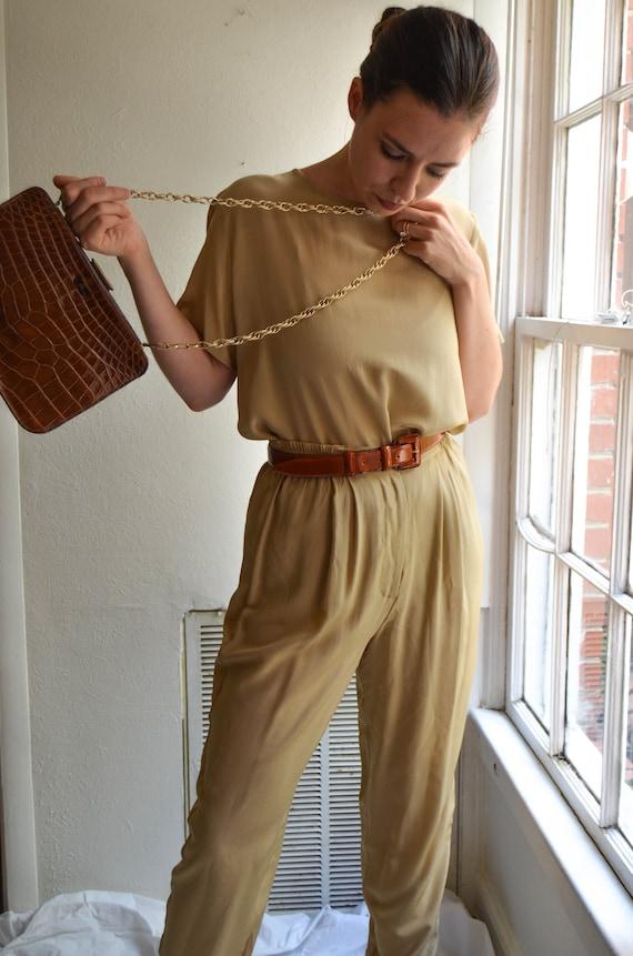 90s Camel Silk Pants Suit Set | Beige Silk Pants a