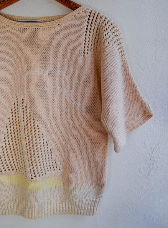 Hand Knit Scenic Boat Sweater, Size Small - image 3
