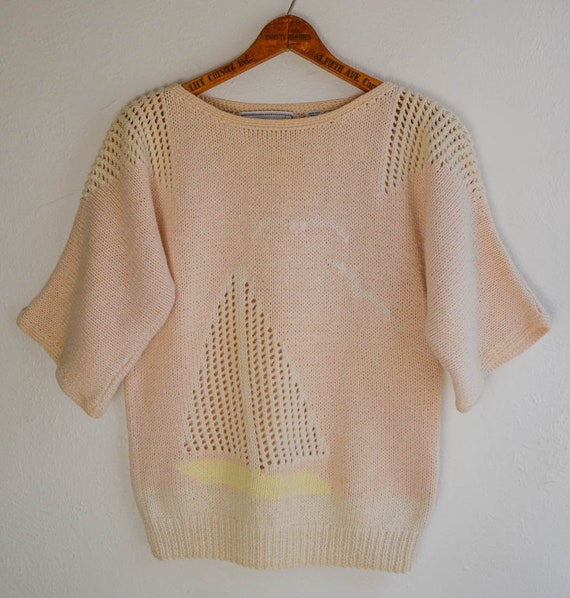 Hand Knit Scenic Boat Sweater, Size Small - image 1