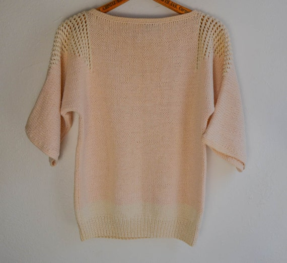 Hand Knit Scenic Boat Sweater, Size Small - image 5