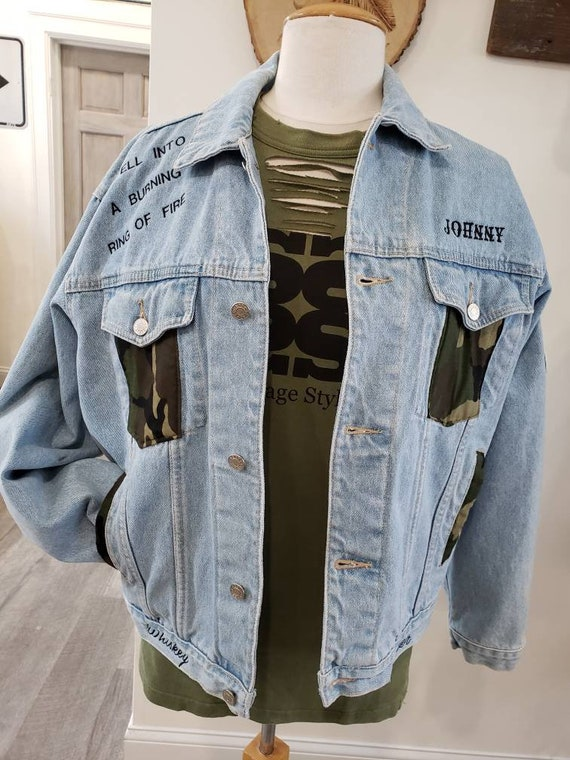 Cash, Camo and the Finger inspired Country music legend Denim Trucker Jacket. Made to Order. FREE SHIPPING