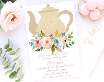 0bf0d68c80d Printable 5x7 Custom Bridal Shower Kitchen Tea Wedding Shower  Bride to Be Invitations  Teapot