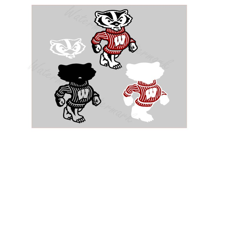 Wisconsin SVG and Studio 3 Cut File Stencil and Decal Files Badger Logo for  Silhouette Cricut Brother SVGS Cutouts Decals Football Badgers