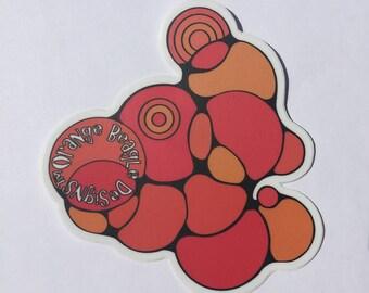 Orange Beagle Bubbles Sticker