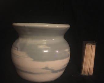 Cloudy Glaze Black Swirled Vase