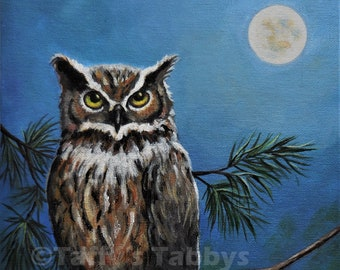 "Acrylic Owl Painting, Original, Great Horned Owl, Moonlight, Full Moon, Pine Trees 8"" x 10"""