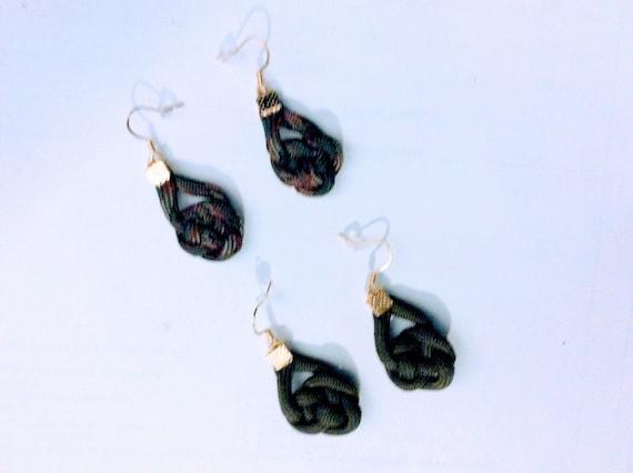 Pierced Celtic Knot Silver Tone ParaCord Earrings