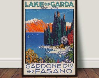 LARGE A3 Size CANVAS ART PRINT LAKE GARDA ITALY Retro Vintage Travel Poster